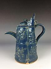 Vintage Chinese Ming style blue glazed porcelain wine pot