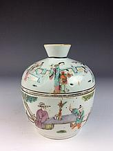 Chinese porcelain pot with lid, famille rose glazed on blue ground