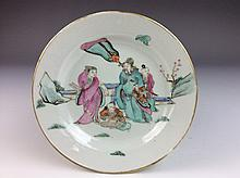 Chinese porcelain plate, famille rose glazed