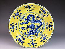 Chinese porcelain plate, B&W; on yellow ground glazed