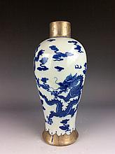 Rare Chinese porcelain pot, famille rose on blue glaze