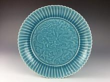 Rare Chinese porcelain plate, blue glazed, marked