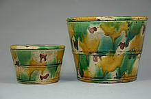 Vintage set of Chinese verte (sancai) porcelain pots