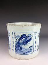 Chinese porcelain pot, blue & white  glaze, marked