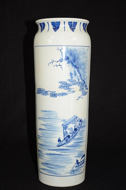 Chinese B/W Porcelain Vase with Landscaping & Calligraphy