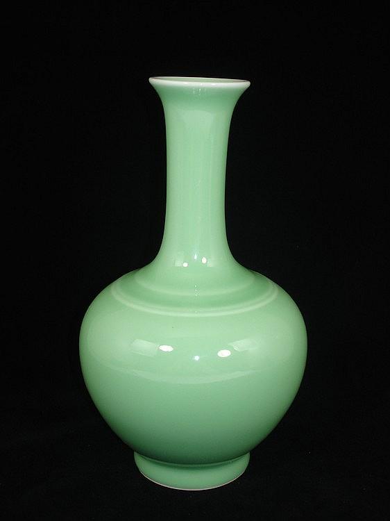 Chinese Celadon Glaze Porcelain Baluster Form Vase