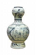Beautiful blue and white Chinese porcelain gourd shape vase