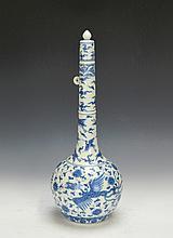 Fine Tall Chinese blue and white phoenix globular vase.