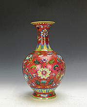 Very beautiful Chinese Famille Rose floral porcelain vase.