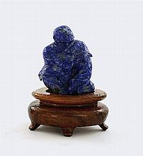 Chinese Lapis Carved Monk Louhan