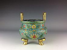 Chinese copper/metal base cloisonne tripod censer with flower pattern and straight ears, marked on base.