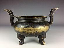 Chinese bronze/metal base tripod censer.