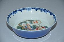 Fine Chinese famille rose painting interior and blue glazed exterior, marked