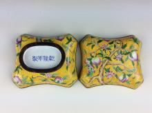 Fine 19th century Chinese enamel on copper, box shape, Qianlong mark