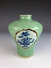Fine Chinese porcelain vase, blue & white panel on celedon glaze, marked