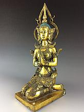 Fine south asia glit bronze buddha
