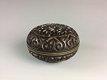 Chinese Carved PolychromeMetal Base Lacquer Box with Moire Clounds Pattern