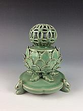 Rare Chinese green glazed porcelain censer