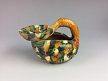Vintage Chinese Tang style three color (Sancai) oil lamp, duck shape.