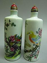 A Set Of Chinese Porcelain Flower & Bird Pattern Snuff Bottle