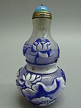 Peking Glass Carved Crane & Flower & Fish Pattern Snuff Bottle