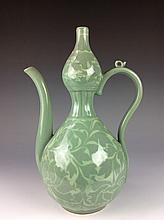 Vintage Koren celedon porcelain wine pot