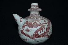 Rare Chinese export underglaze red glazed kendi