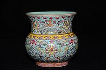 Chinese Enameled Pot Turquoise Ground