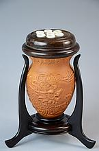 Rare Chinese cricket container, made by groud with stand