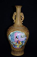 Rare Chinese Porcelain vase, decorated with  panel of enamel painting, marked