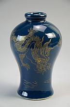 Chinese blue glazed with gilt dragon , marked