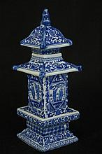 Chinese B/W porcelain pagoda decorated with figures