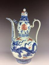 Fine Chinese porcelain win pot, blue & white with underglazed red glazed,  decorated & marked