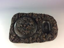 Chinese porcelain ink stand, decorated with dragons & marked