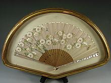 Vintage shadow box hand fan