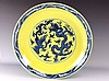 Important large Chinese yellow ground, blue & white porcelain plate, marked