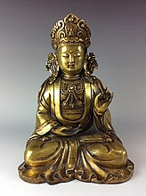 Rare  large   Chinese gilt-bronze buddha figure,   marked