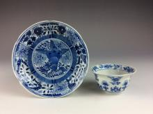 18C Chinese erxport porcelain blue & white set of plate & cup