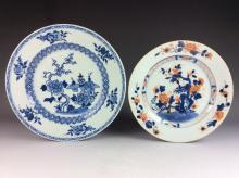 Pair of Export Chinese blue & white porcelain plates