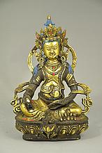Rare Great Sino-Tibetan Parcel Gilt Bronze Money God