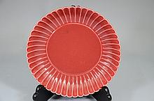 Rare Chinese red glazed plate, marked