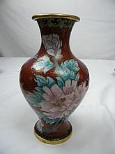 CHINESE RED CLOISONNE PEONY FLOWER VASE