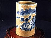 ANTIQUE CHINESE BLUE AND WHITE BRUSH HOLDER GE STYLE