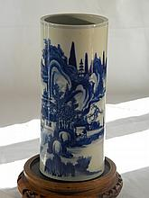 CHINESE BLUE AND WHITE HAT STAND GUANGXU MOUNTAIN SCENE