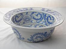CHINESE LARGE ANTIQUE BLUE AND WHITE BOWL QING