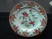 ANTIQUE CHINESE FAMILLE ROSE 18TH C. PLATE CHILDREN