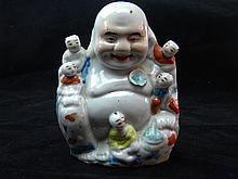 ANTIQUE CHINESE FAMILLE ROSE BUDDAH STATUE