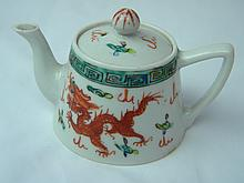 ANTIQUE CHINESE FAMILLE ROSE DRAGON AND PHEONIX TEAPOT