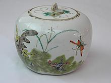 ANTIQUE CHINESE FAMILLE ROSE MELON POT WITH BUTTERFLY