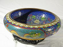 CHINESE CLOISONNE DRAGON BIG BRSH WASHER